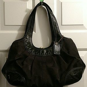 Coach kiss lock black bag
